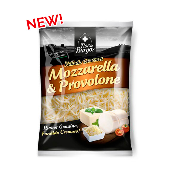 Flor de Burgos product: grated 2 cheese mix Mozzarella Provolone 150g 200g.