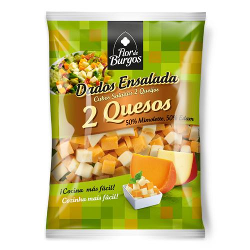 Flor de Burgos quesos cortados: queso en dados 2 quesos 150g 200g.