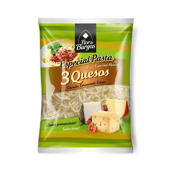 Producto Flor de Burgos rallados 3 quesos: curado, emmental y edam.